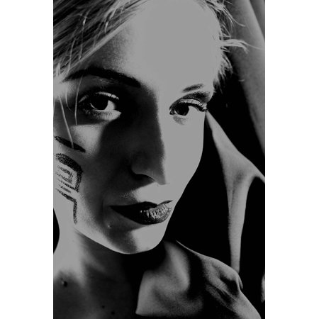 Canvas Print Woman Face Face Painting Black and White Stretched Canvas 10 x 14