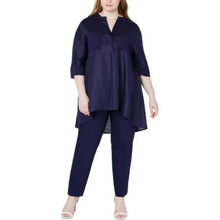 Anne Klein Womens Plus Linen Hi-Low Tunic Top Short Sleeve Knit Tunic