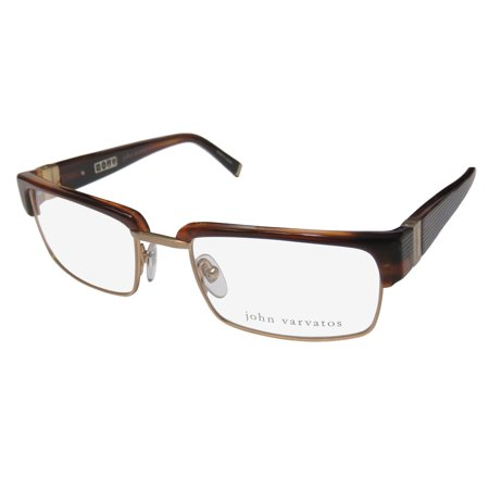 New John Varvatos V137 Mens Designer Full-Rim Brown / Gold Frame Demo Lenses 52-19-140 Flexible Hinges Eyeglasses/Eye