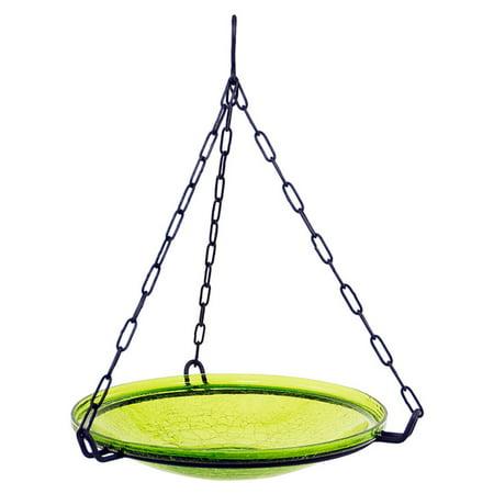 Achla Designs Hanging Crackle Bowl Glass Birdbath