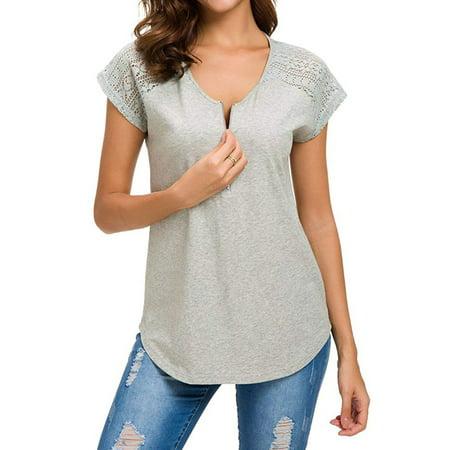 Black Lace Up Stitch (711ONLINESTORE Women's Lace Stitching V Neck Zip Up Short Sleeve Tee Shirt )