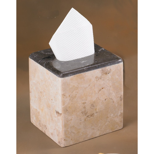 Creative Home Champagne Marble Inverary Banded Tissue Box Holder (Set of 2)
