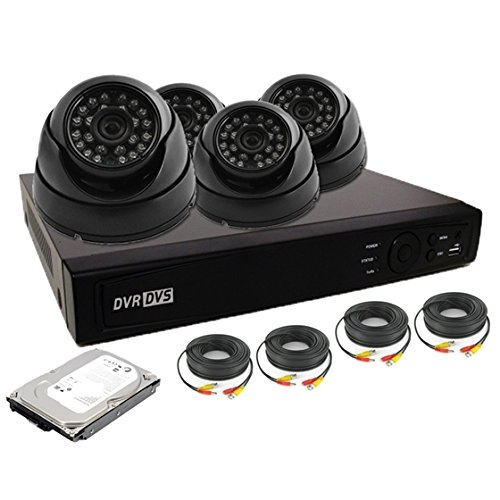 Nexhi 4CH HD-TVI - ANALOG DVR Security System with 720P HD-CVI Dome Camera, Cable and 1 TB HDD - Black