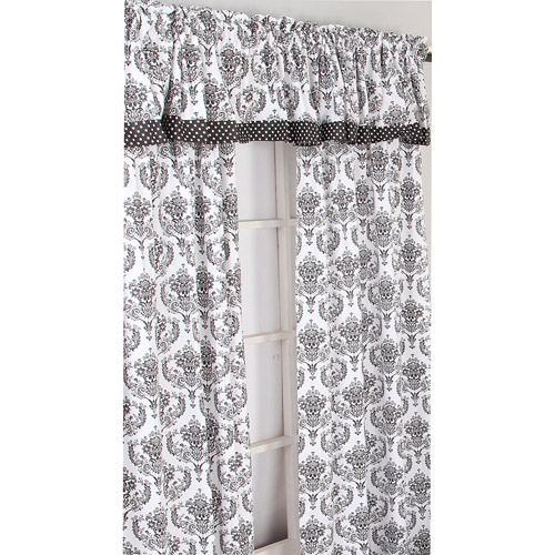 Bacati - Classic Damask Curtain Panel 42 x 84 inches 100% Cotton Percale Fabrics, White/Black