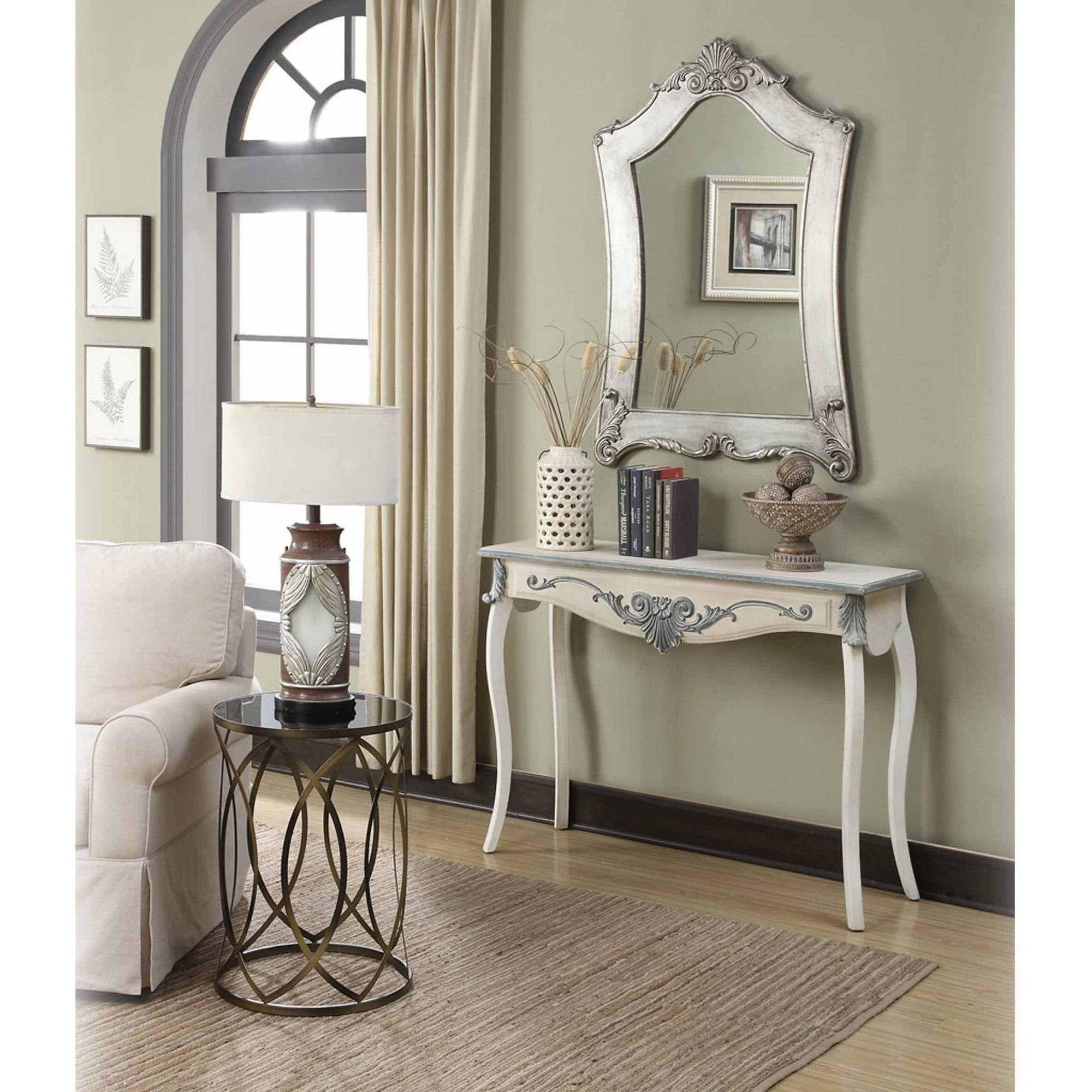Convenience Concepts Gold Coast Victorian Silver Frame Mirror