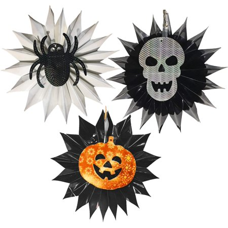 Halloween Metallic/Holographic Hanging Decorations (Set of 3 - Pumpkin, Skull, & Spider)