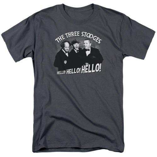The Three Stooges Hello Again Mens Short Sleeve Shirt Charcoal XL