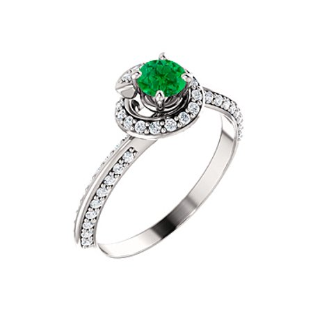 Cool Green Emerald CZ Swirl Halo Ring in 14K White Gold - image 2 de 8
