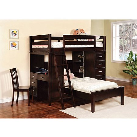 Coaster Twin Over Twin Bunk Bed Workstation Cappuccino