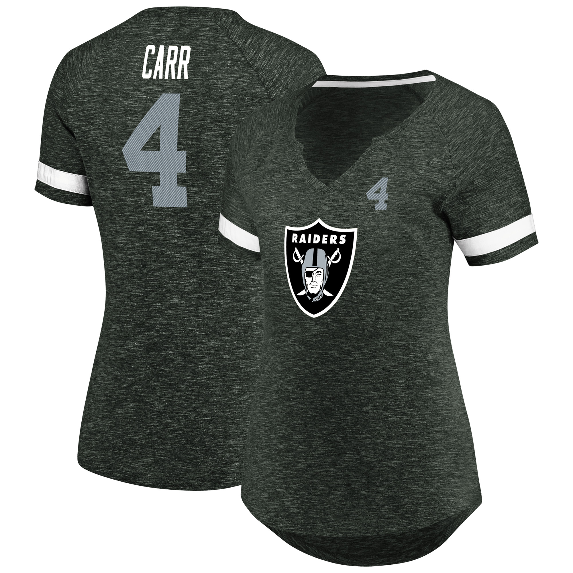 Derek Carr Oakland Raiders Majestic Women's My Guy Name & Number Notch V-Neck T-Shirt - Charcoal