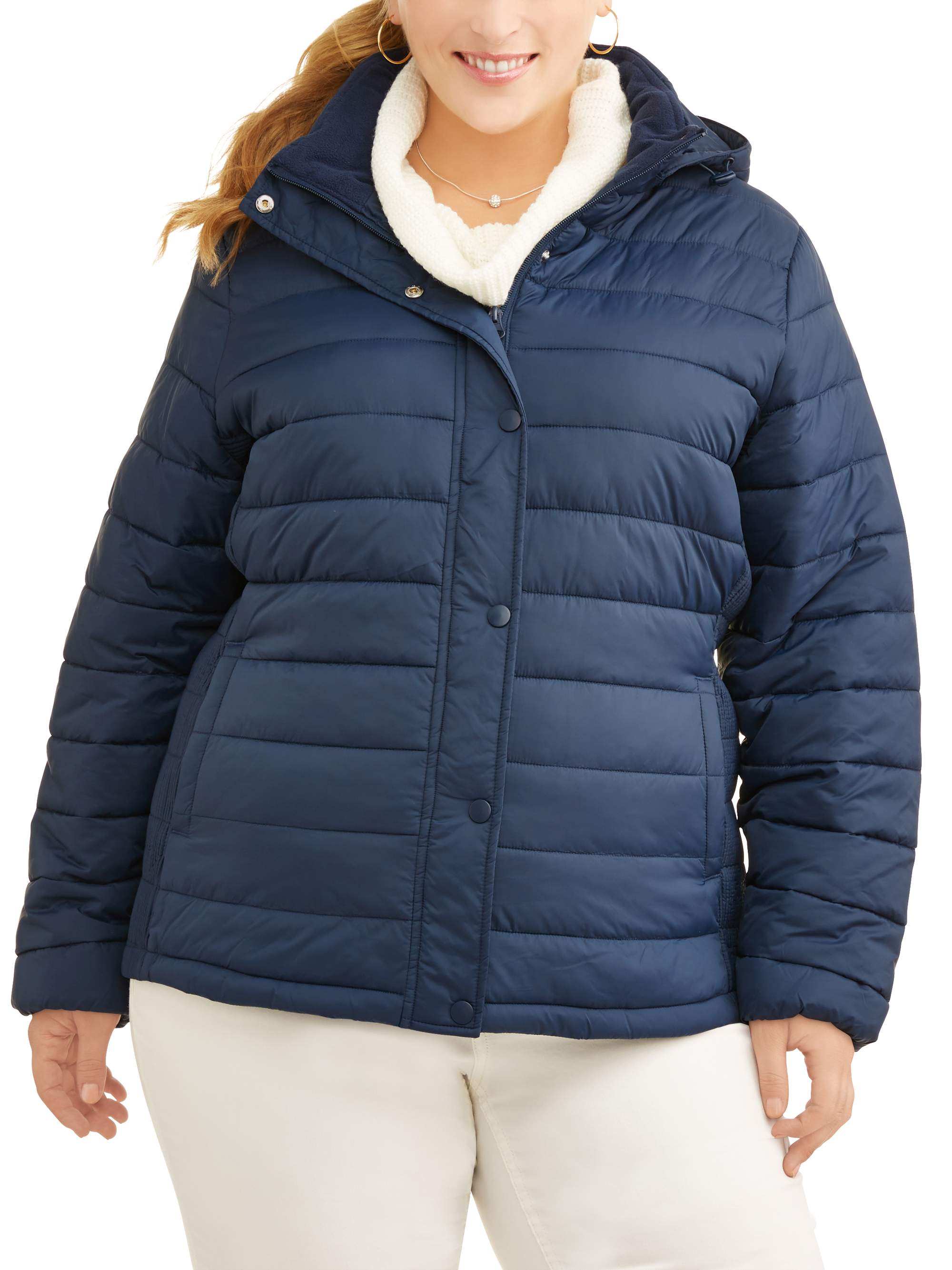 Time and Tru Women's Plus-Size Hooded Puffer Jacket