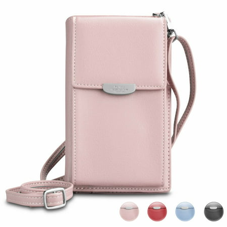 Njjex Small Crossbody Bag Cell Phone Purse Wallet For Women PU Leather Carrying 8 Credit Card Holder Shoulder Pouch Bag Ladies Wristlet Purse, Milk Pink