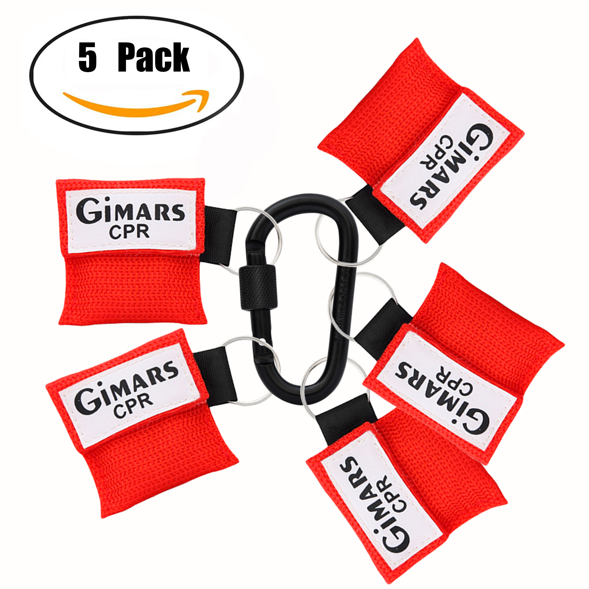 Gimars CPR Face Mask Rescue Face Shield with Key Chain One-way Valve Breathing Barrier for First Aid CPR Training Emergency 5 Pack
