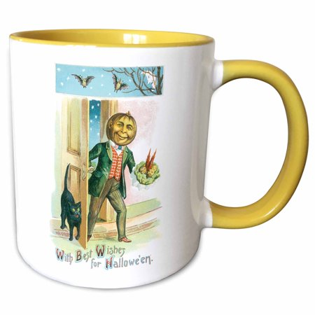 3dRose Vintage Halloween With Best Wishes with a Pumpkin Man and a Black Cat - Two Tone Yellow Mug, 11-ounce - Best Halloween Pumpkin Patterns