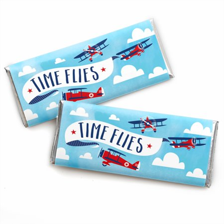 Taking Flight - Airplane - Candy Bar Wrapper Vintage Plane Baby Shower or Birthday Party Favors - Set of - Baby Shower Airplane