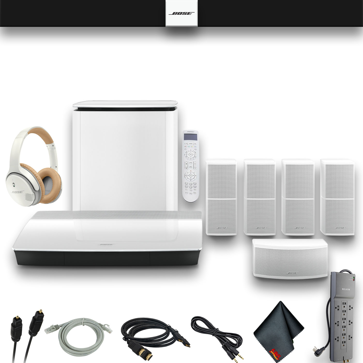 bose lifestyle 600 home theater system with jewel cube speakers (white) w optical cable, hdmi cables, aux cable, powerstrip, premium headphones and  home theater wiring bose jewel #12