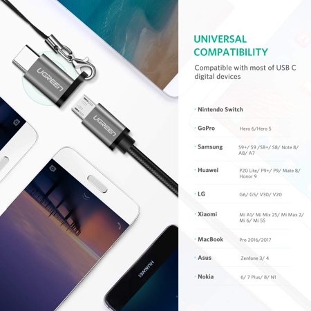 UGREEN Micro USB C Adapter Type C Charger Converter with Keychain Connector - image 2 de 6