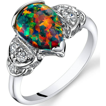 1.00 Carat T.G.W. Created Black Opal Engagement Ring in Rhodium-Plated Sterling Silver
