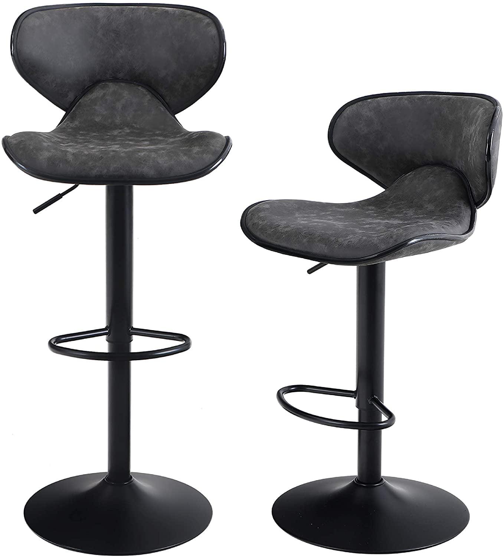 mf studio 2pcs bar stools with back support adjustable