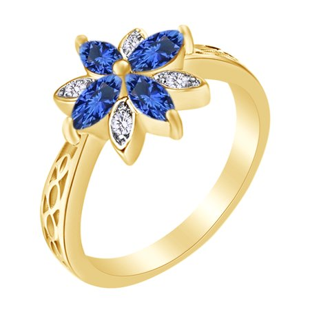 Marquise cut simulated sapphire cubic zirconia flower engagement this button opens a dialog that displays additional images for this product with the option to zoom in or out mightylinksfo
