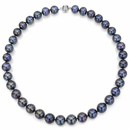 "ADDURN Ultra-Luster 9-10mm Black Genuine Cultured Freshwater Pearl 18"" Necklace and Sterling Silver Ball Clasp"