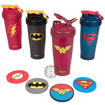 DC Comics BlenderBottle and Coaster Set 4 Pack with Justice League Superheros - Superman, Wonder Woman, Batman, Flash - Classic Bottle With Loop and Blenderball, 28 oz - PVC Coasters ()