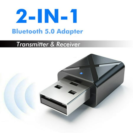 Mancro USB Bluetooth 5.0 Transmitter and Receiver,2-in-1 Wireless Audio Stereo Adapter for TV PC Bluetooth Speaker Headphone (Bluetooth Adapter Fire Tv)