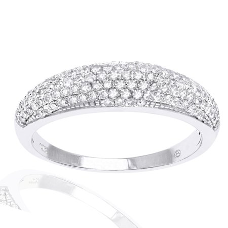 - Beverly Hills Charm 10k White Gold 1/2ct. TDW Micro-Pave Domed Diamond Band Ring
