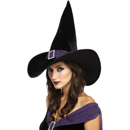 Black and Purple Elegant Witch Hat Adult Halloween Accessory