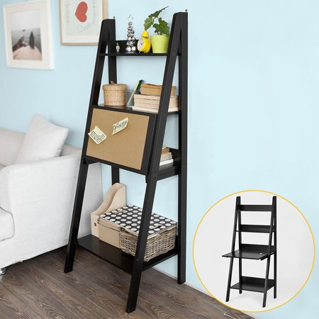haotian wood modern ladder bookcase book shelf free stand shelf with memo board wall shelf desk. Black Bedroom Furniture Sets. Home Design Ideas