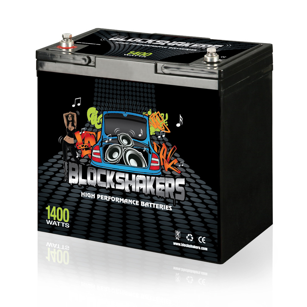 Black 12V 55AH 1400 Watts M6/T6 High Current Battery replaces Kinetik HC1200