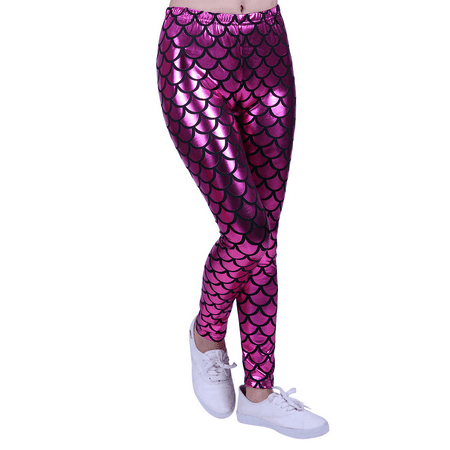 HDE Girl's Shiny Mermaid Leggings Metallic Fish Scale Tights Mermaid Costume (Pink, 4/5)