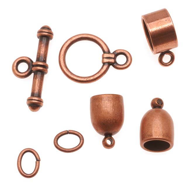 BeadSmith Antiqued Copper Plated Bullet Findings Kit For Kumihimo -Fits 6mm Cord