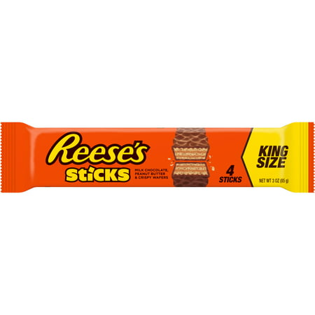 Reeses Sticks, Peanut Butter Milk Chocolate King Size Candy Bar, 3 Oz