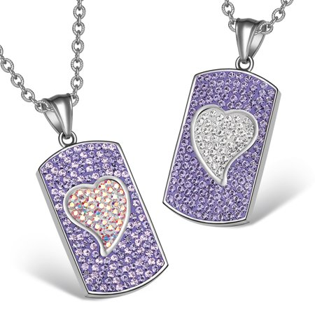 - Magic Hearts Austrian Crystal Love Couples or Best Friends Dog Tag Purple and Rainbow White Necklaces