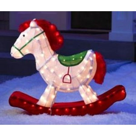24 pre lit soft tinsel old fashioned rocking horse christmas yard art decoration - Christmas Horse Yard Decorations