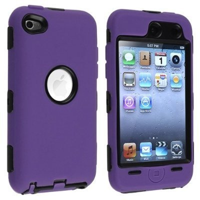 Hybrid Hard Silicone Case for iPod Touch 4th Gen - Black/Purple ()