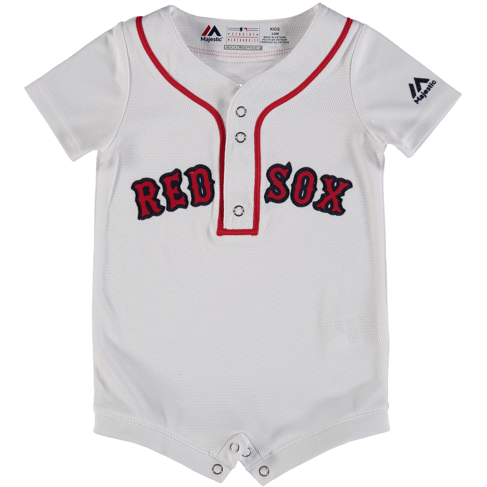 Boston Red Sox Majestic Newborn & Infant Home Cool Base Romper Jersey - White