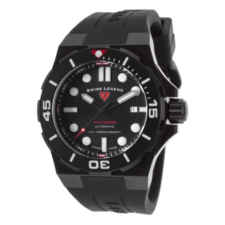 Swiss Legend 10062A-Bb-01-Blk-Sm-Rdb Abyssos Automatic Black Silicone Black Dial And Case Watch