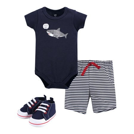 Hudson Baby Boy Cotton Bodysuit, Shorts and Shoe Outfit Set