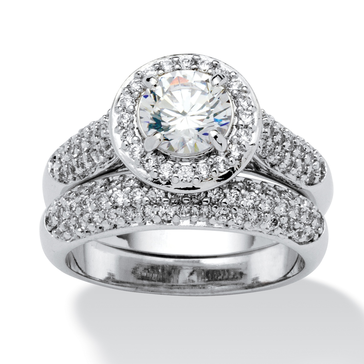 2.30 TCW Round Cubic Zirconia Pave Platinum-Plated Bridal Engagement Ring Wedding Band Set