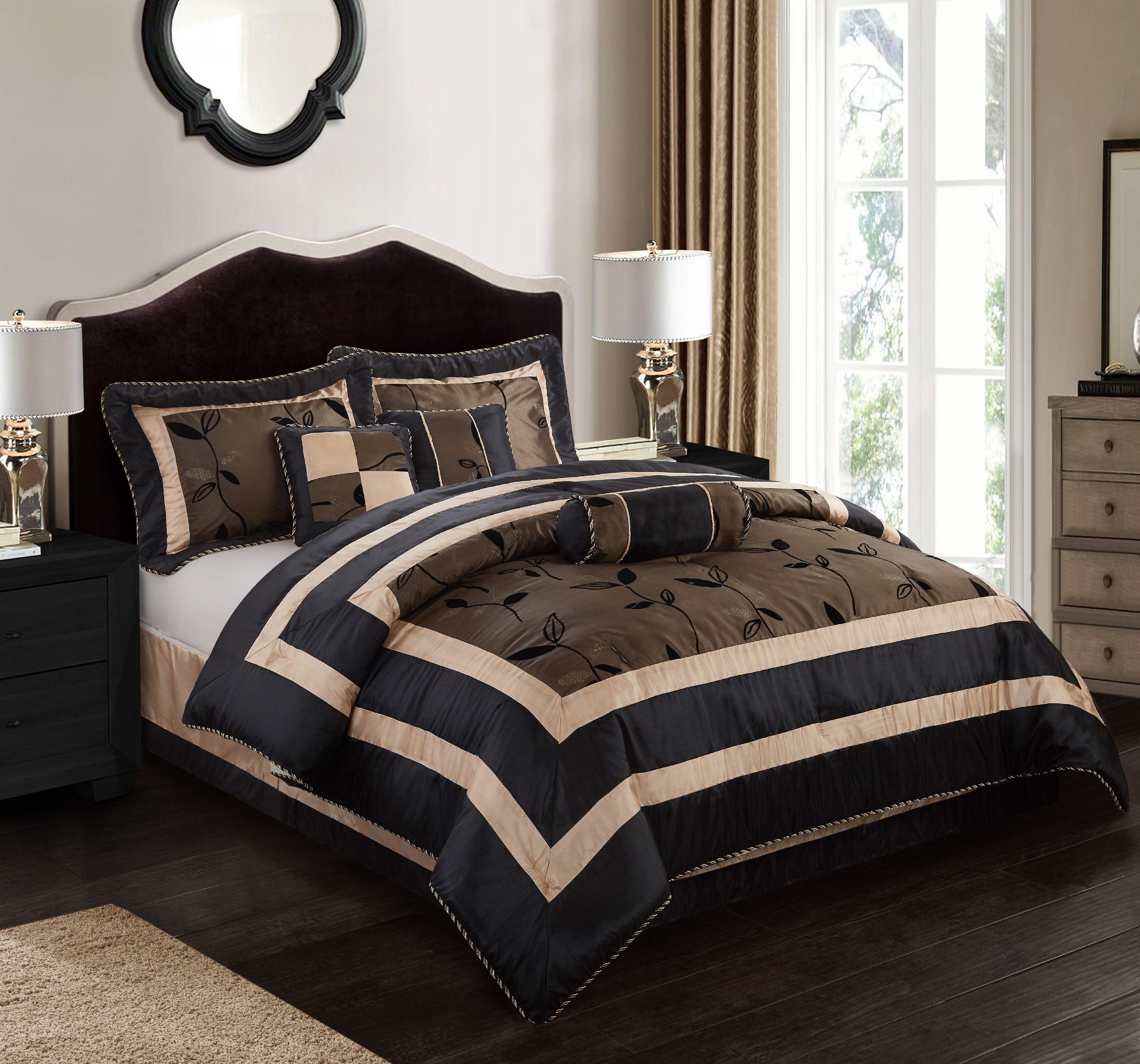 Nanshing Pastora Luxury 7-Piece Bedding Comforter Set with 3 BONUS Decorative Pillows, Full, Brown - Walmart.com