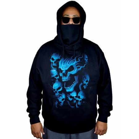 Men's Blue Flaming Skull Ghost Black Mask Hoodie Sweater 3X-Large Black