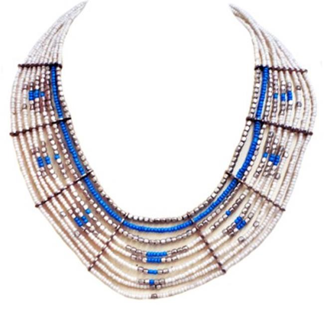 C Jewelry White And Blue Beaded Indian Bib Necklace