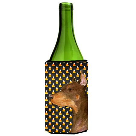 Doberman Candy Corn Halloween Portrait Wine bottle sleeve Hugger - 24 Oz. - image 1 de 1