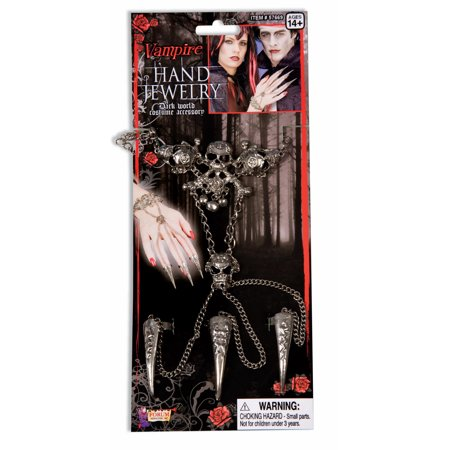 Gothic Skull Bracelet Wristband & Nails Costume Set (Halloween Nails)