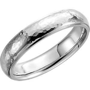 Comfort Fit Hammer (Jewels By Lux Sterling Silver 5mm Half Round Edge Comfort Fit Hammer Finish Band Size 10)
