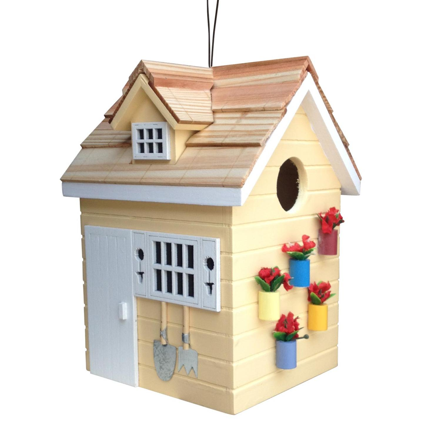 """7.75"""" Fully Functional Nestling Series Yellow Wooden Potting Shed Outdoor Birdhouse"""