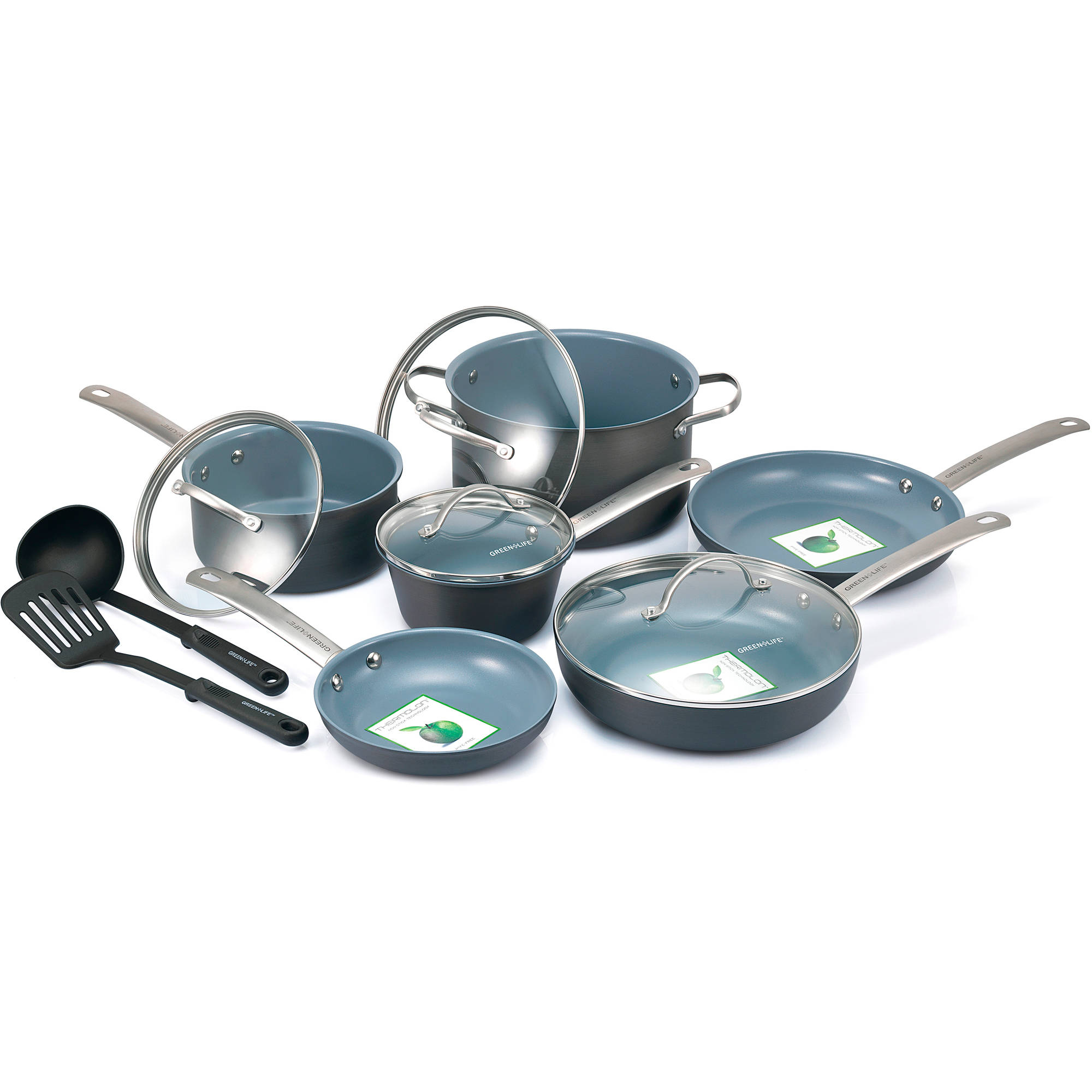 GreenLife Healthy Ceramic Non-Stick 12-Piece Gourmet Hard-Anodized Cookware Set