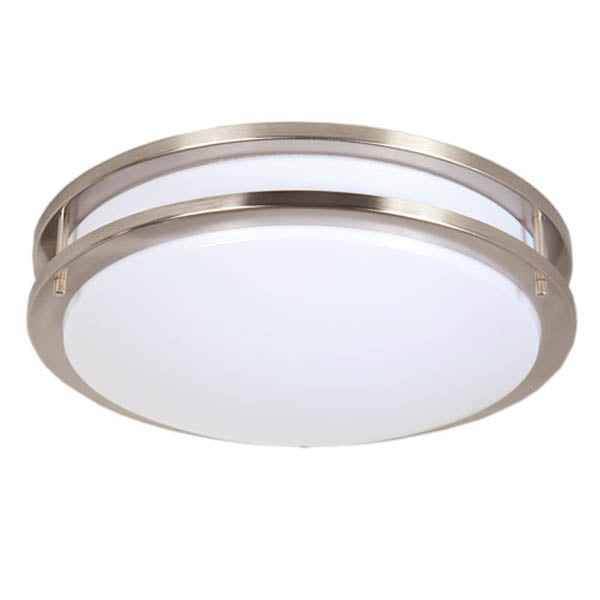 "Maxxima 14"" Satin Nickel LED Ceiling Mount Light Fixture Warm White, 1650 Lumens Dimmable, 3000K by Maxxima"